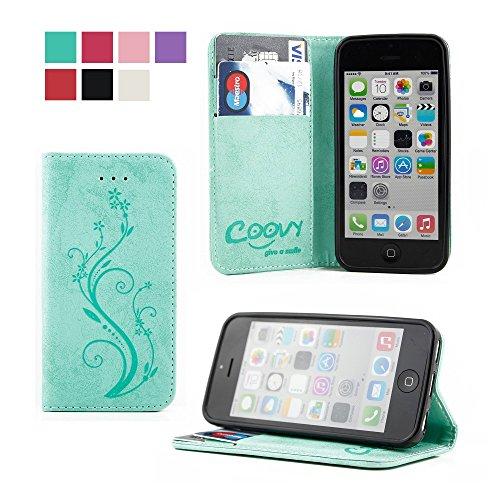 COOVY® Cover für Apple iPhone 5c Case Wallet Schutz Etui mit Kartenfach, Standfunktion + Schutzfolie - Design Blume | Farbe grün (5c Case Wallet)