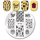 Nail Art Stamping Modello Di Timbratura Chiodo Campana Di Natale Cervo Fiocco Di Neve Cervo Ringraziamento Capodanno Champagne Fuochi D'Artificio Piatti Nail Art Stamp