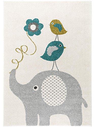 benuta Kinderteppich Birdies and Elephant Blau 80x150 cm | Teppich für Spiel- und Kinderzimmer