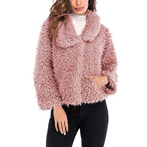 TWBB Damen Mantel Winter Outwear Elegant Warm Faux Fur Kunstfell Jacke Kurz Mantel Coat