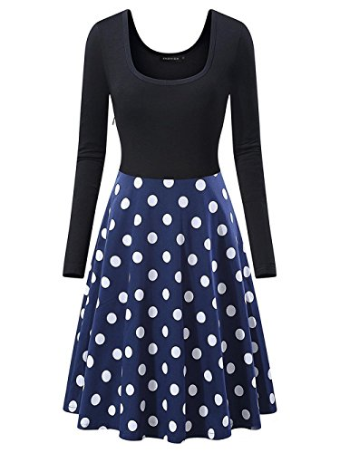Empire Bubble (Scothen Damen Audrey Hepburn 50s Retro Vintage Bubble Skirt Rockabilly Swing Evening Kleider A-line und Empire Taille Kleider, Knielang Elegant Cocktailkleid)
