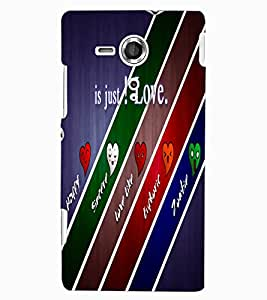 ColourCraft Love Design Back Case Cover for SONY XPERIA SP