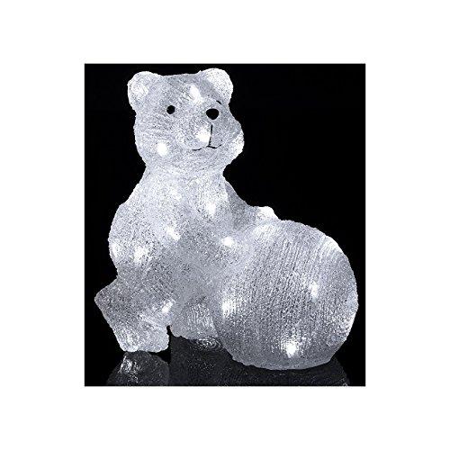 DECO NOËL - OURS qui roule sa BOULE de NEIGE - lumineux - effet givré - 30 LED Blanc froid
