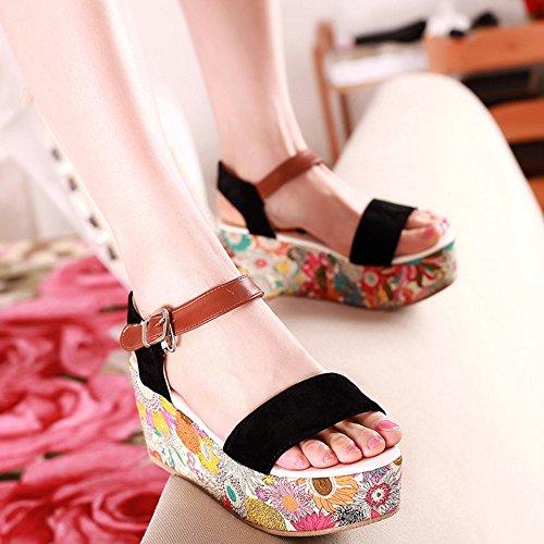 COOLCEPT Femmes Mode Cheville Sandales Orteil ouvert Compenses Chaussures 1466Noir