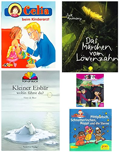 Mini Bücher Bundle 4 - Celina - Kleiner Eisbär Lars Pop-up - Löwenzahn - Horseland - Sandmännchen Pittiplatsch
