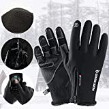 SEGRJ Full Finger Zipper Winter Cycling Skiing Unisex Windproof Touch Screen Handschuhe