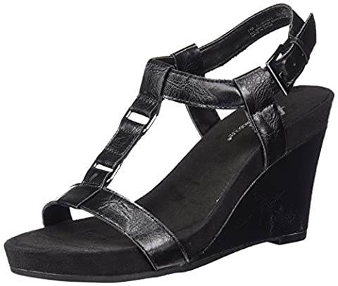 A2 by Aerosoles Women's Plush Nite Wedge Sandal, Black, 7.5