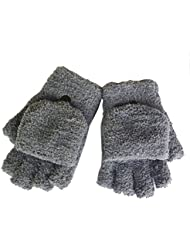 Femmes / filles avec des gants sans doigts Mitten couverture en peluche,gris