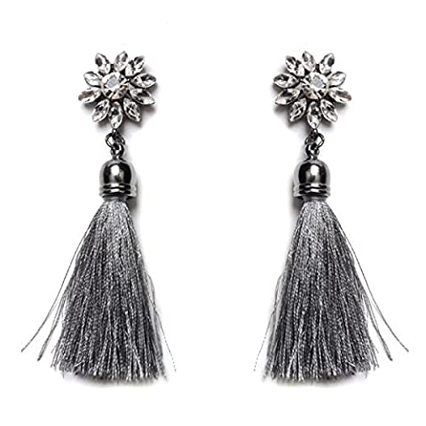 Ladies National Wind Sun Flower Diamonds Alloy Fashion Tassel Earrings,Grey-L