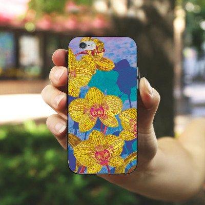 Apple iPhone 5s Housse Outdoor Étui militaire Coque Orchidée Fleurs Fleurs Housse en silicone noir / blanc
