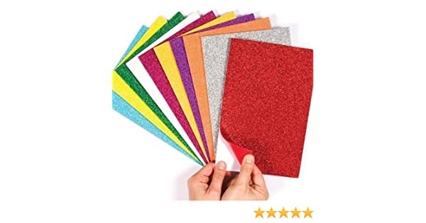 Self-Adhesive Glitter Foam Sheets A4 Size Sticky Back Pack of 10