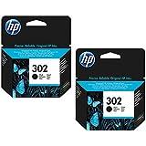 HP, cartuccia d'inchiostro originale F6U66AE HP 302 HP302 per HP Officejet 4650, circa 190 pagine/5%, colore: nero (02) 2x Ti