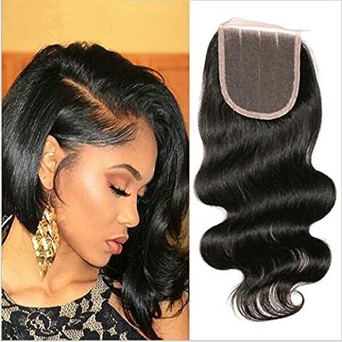 Orangestar Extensions de cheveux humains tissage Noir naturel brésilien ondulés Fermeture de tissage sur le haut 20,3- 55,9cm 100% cheveux vierges pour