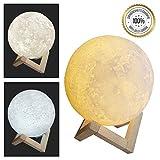 Mondlampe 3D Mond Lampe dimmbar | 15cm Mondlicht Lampe Nachtlampe | stimmungsvolle 3 Farben Mondlampe | Berührungssteuerung | Nachtlicht für Kinder | schöner Holzfuss | Extrem Stabil für Kinder geeignet | Premiumqualität USB-Ladung