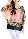 Blusas y Camisas Mujer Estampadas Flores Camiseta Bohemia Tops con Mangas Largas de Murciélago Caftan Playa Gasa Tallas Grandes – Landove
