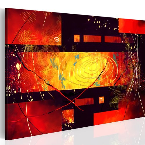 murando - Bilder Abstrakt 100x70 cm Vlies Leinwandbild 1 TLG Kunstdruck modern Wandbilder XXL Wanddekoration Design Wand Bild - rot schwarz gelb 0101-81