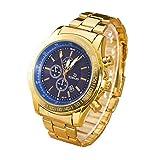 Yogogo Herren Quartz Analog Armbanduhr , 1 Cent Artikel | Legierungsband | Dekoration | Geschenk | Edelstahlgehäuse | Quarzwerk | 1.9cm Bandbreite | 24cm Bandlänge (Blau)