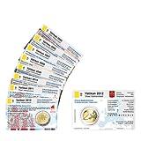 Set - 9 Münzkarten (ohne Münze) Vatikan für 2-Euro Gedenkmünzen 2004 bis 2012 Größe (B x H): 85,60 mm x 53,98 mm vorgestanztes Münzbild ohne 2 Euro Gedenkmünzen