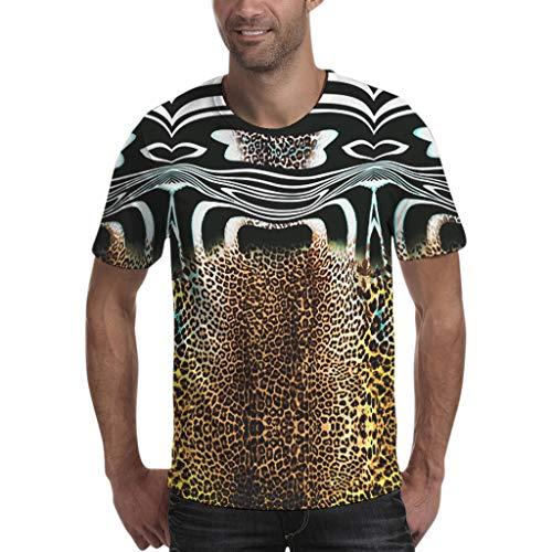 Xmiral Kurzarm T-Shirt Herren Streifen Leopard Patchwork Polyester O-Ansatz Oberteile Sport Muskel Beiläufig Plus Size Bluse(XS,Kaffee)