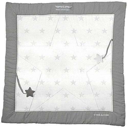 roba Spiel- & Krabbeldecke 'Rock Star Baby 2', Baby's gepolsterte Spielunterlage / Laufgittereinlage 100x100cm, 100% Baumwolle, inkl, Baby-Spielzeug