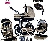 Chilly Kids Dino Kinderwagen Safety-Set (Autositz & ISOFIX Basis, Regenschutz, Moskitonetz, Getränkehalter, Schwenkräder) 15 Beige & Schwarz