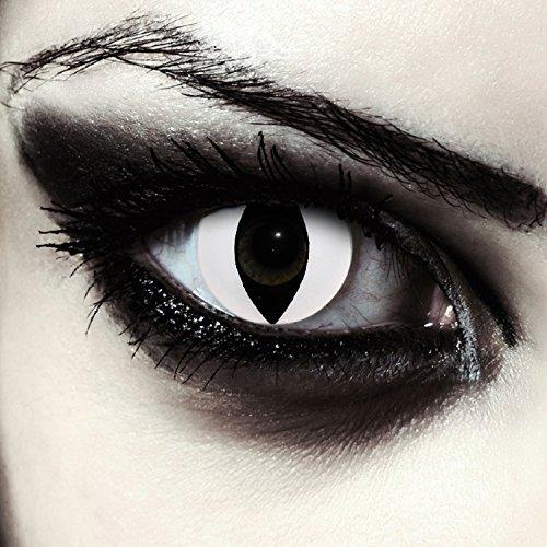 Weiße farbige Katzenaugen Kontaktlinsen für Halloween Kostüm, 2 Stück, Designlenses Model: White Cateye