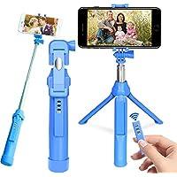 Palo Selfie Trípode, PEYOU [ 3 en 1] Extensible Selfie Stick Trípode con Obturador Remoto Recargable y GoPro Adaptador para iPhone X / 8 / 8 / 7 / 7plus / 6S, Android Samsung Galaxy S8 / S8 Plus / S7 / s7edge, Camara, GoPro Hero 3/4/5 (Azul)