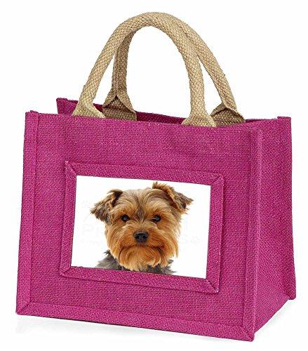 Advanta–Mini Pink Jute Tasche Cute Yorkshire Terrier Dog Little Girls kleinen Einkaufstasche Weihnachten Geschenk, Jute, pink, 25,5x 21x 2cm