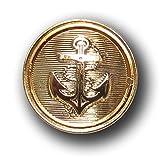 Knopfparadies - 10er Set tolle maritime schraffierte Ösen Kunststoff Knöpfe mit Anker Motiv / metallic goldfarben glänzend / Kunststoff / Ø ca. 16mm