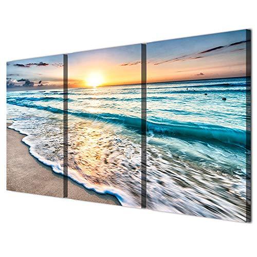 3 Panels Blauer Strand Sonnenaufgang Weiße Welle Bilder Malerei auf Leinwand Wandkunst Moderne Ausgedehnte und Gerahmte Leinwand Seaview Kunstwerk für Home Office Dekorationen - Iii Gerahmt Leinwand
