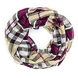 MANUMAR Loop-Schal für Damen | Hals-Tuch in lila mit Schmetterling Motiv als perfektes Frühling Sommer Accessoire | Schlauchschal | Damen-Schal | Rundschal | Geschenkidee für Frauen und Mädchen