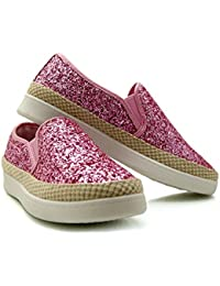 1b612c59922 Pinkpoca Glitter Sparkly Womans Girls Slip On Trainer Espadrilles Size UK 3  To 8
