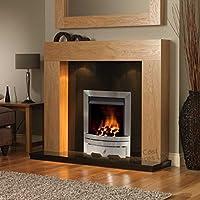 "Gas Oak Surround Black Granite Silver Steel Coal Flame Fire Modern Fireplace Suite Lights Spotlights - 48"" - UK Mainland Only"