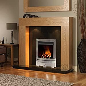"Gas Oak Surround Black Granite Silver Steel Coal Flame Fire Modern Fireplace Suite Lights Spotlights - 48"" - UK Mainland Only"