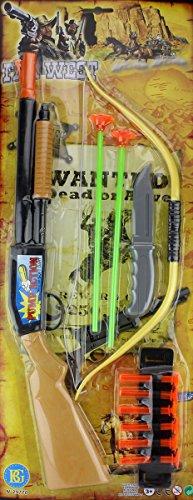 MEGAPACK Pumpgun Gewehr Pfeil und Bogen Gewehr Kinder Set Cowboy Indianer Set mit Pfeilen (Pfeil Bogen Schwarzer Kostüm Und)