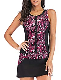 Moonface Womens Halter Swimdress Plus Size Two Piece Swimsuit Tankini Set