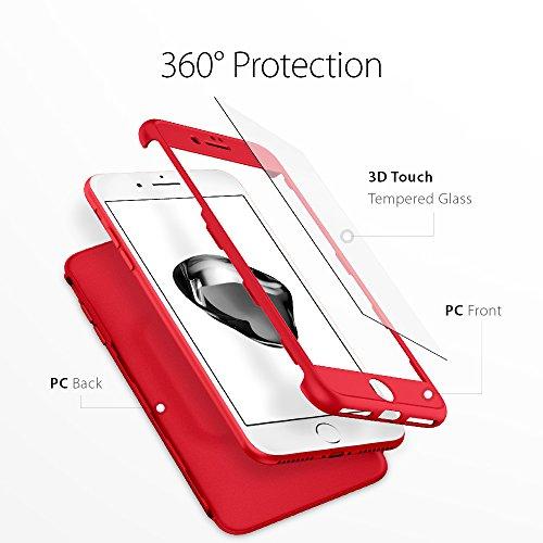 iPhone 7 PLUS Vollschutz Hülle + Gratis Panzerglas, Spigen® [Thin Fit 360] Komplettschutz [Schwarz] 360° Rundumschutz-Schale in perfekter Passform 2-teilige Premium PC-Material Schutzhülle für Apple i TF360 Rot