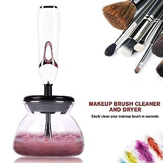 Elektronischer Make-up Pinsel Reiniger Trockner, 360° Tief Schnell Reinigen und Trocknen, Automatisches Kosmetikpinsel Reinigungsgerät Makeup Brushes Cleaner and Drier mit 8 Gummihalterungen (Weiß)
