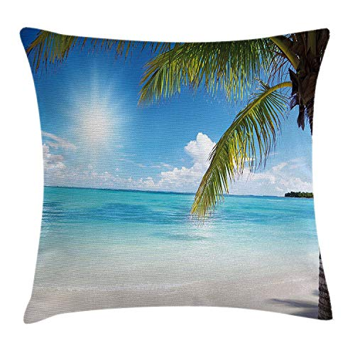 Summer Throw Pillow Cushion Cover, Tropical Paradise Beach with Coconut Palms Crystal Ocean Clear Sky, Decorative Square Accent Pillow Case,Sky Blue Fern Green Pearl Size:20X20 Inches/50X50Cm