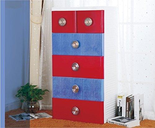 Kommode Kinderzimmer Kind aus Polypropylen und ABS, hat 4großen und 2kleinen Schubladen Farben
