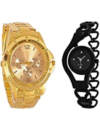 Generic Analogue Multicolor Dial Men And Women Watch (Combo Of 2) - Gold Rosra Bk Chain.31