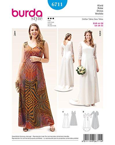Burda 6711 Schnittmuster Abendkleid Brautkleid mit Spitzenärmeln (Damen, Gr. 44-58) Level 3 mittel
