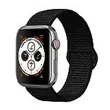 Corki per Cinturino Apple Watch 42mm 44mm, Morbido Nylon Cinturini di Ricambio per Apple iWacth Serie 4 (44mm) Serie 3/ Serie 2/ Serie 1 (42mm), Nero Scuro