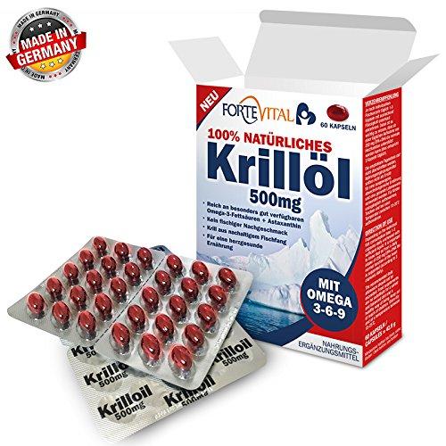 NATÜRLICHES Krill Öl 500mg Premium mit Omega 3| Omega 6| Omega 9 | 60 Kapseln (Krillöl) mit 14 mg Astaxanthin pro 100g / hochdosiert von ForteVital®