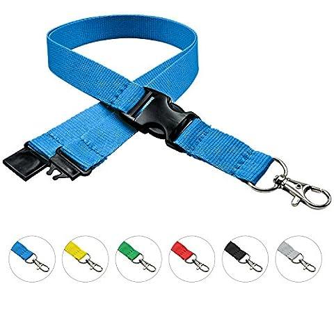 linie zwo®, Lot de 10 cordons porte-clés 20 mm, crochet easy going, Verrou de sécurité, Boucle coulissante, Bleu