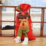 JUNMAONO 1 Stück Kinder Weihnachtsdekoration Geschenktüte Liefert Candy Stofftasche Tragetaschen Weihnachten Tragbar Apfelbeutel Aufbewahrungstasche Handtasche (Elch)