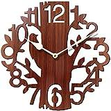 JaipurCrafts Designer Stylish Beautiful Tree Bird Round Wood Wall Clock (25 Cm X 25 Cm X 2.8 Cm, Brown)- Without Glass