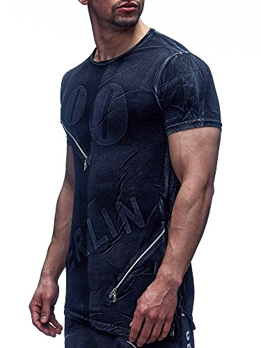 David Gerenzo Herren T-Shirt Oversize Aufdruck Berlin Shirt 1-10066 Schwarz
