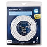 WISI Koaxialkabel MK 96 A 0015 – Antennenkabel 3-fach geschirmt, Klasse A+, >120dB – Brandklasse Dca – Für DVB-T, DVB-T2, DVB-C und DVB-S/S2 – Durchmesser 6,8mm, 15m, weiß