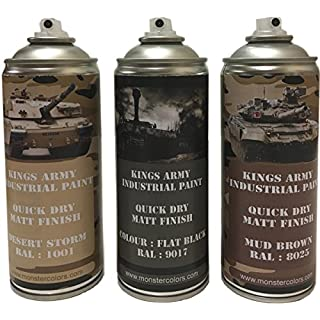 Kings Army Spray Paint 400ml Desert Camo Pack, Desert Storm,Flat Black, Mud Brown, Military paintball airsoft, Model Maker Paint
